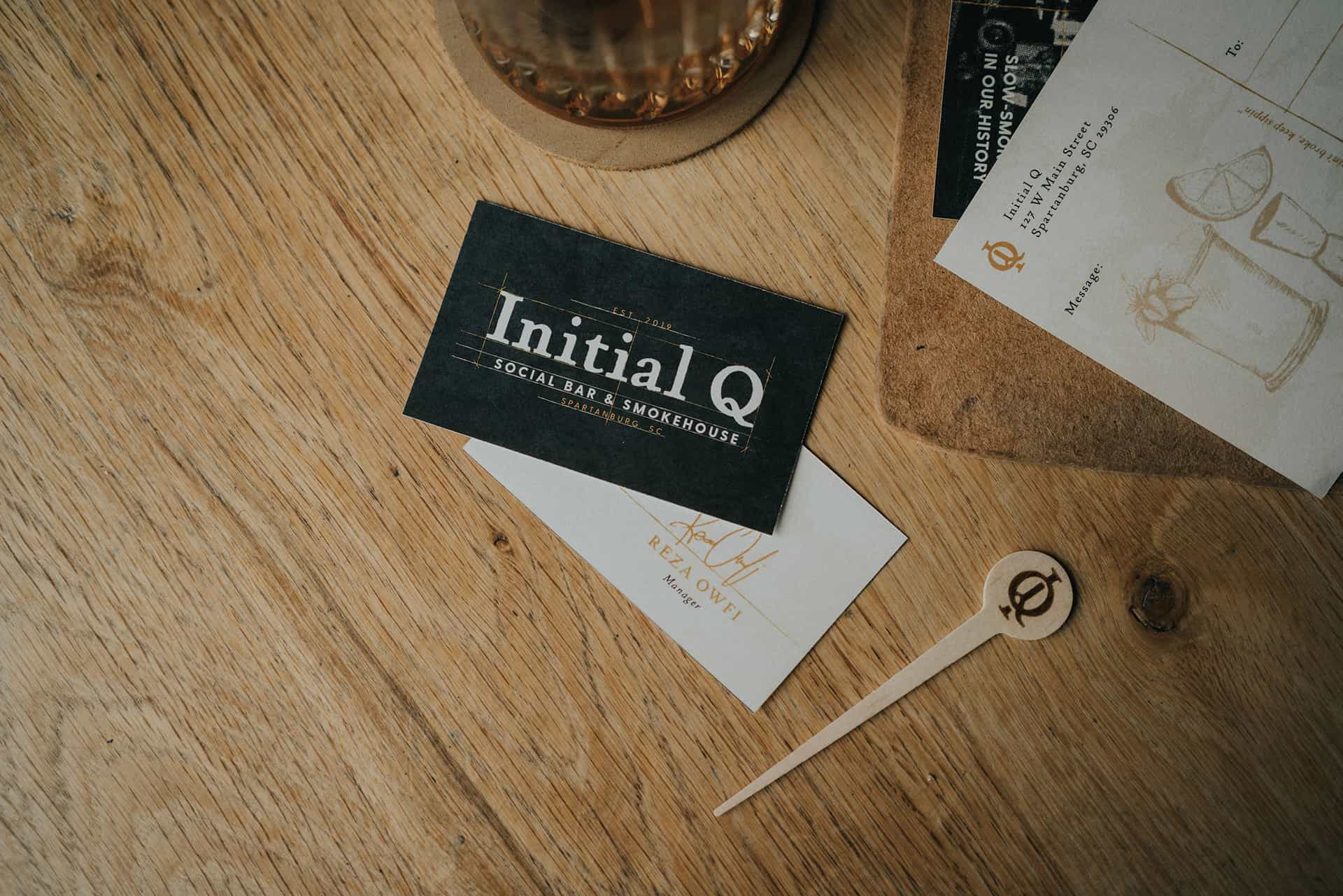 Initial Q Barbecue restaurant branding post cards