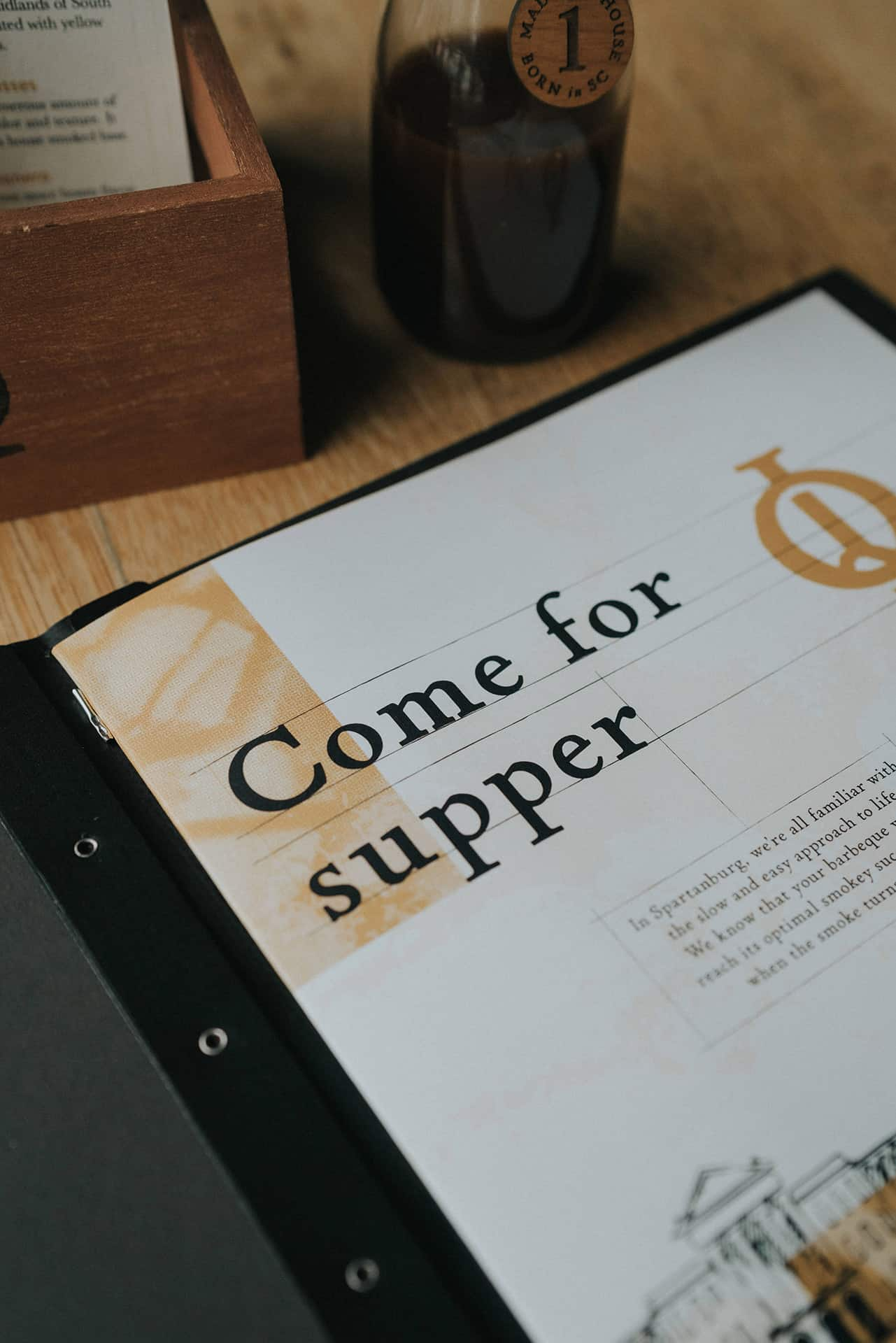 Initial Q barbecue restaurant branding menu design
