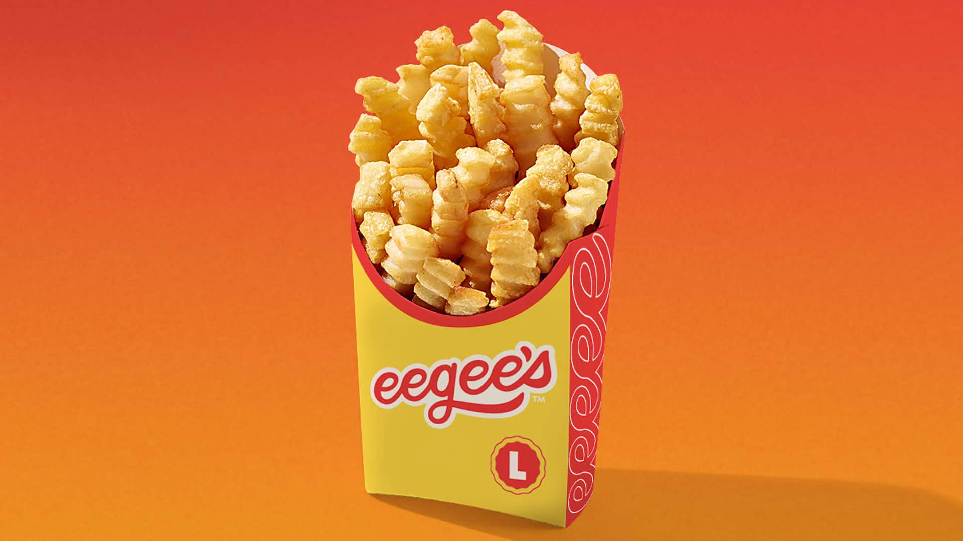 eegee's QSR restaurant rebranding packaging design french fry cartons