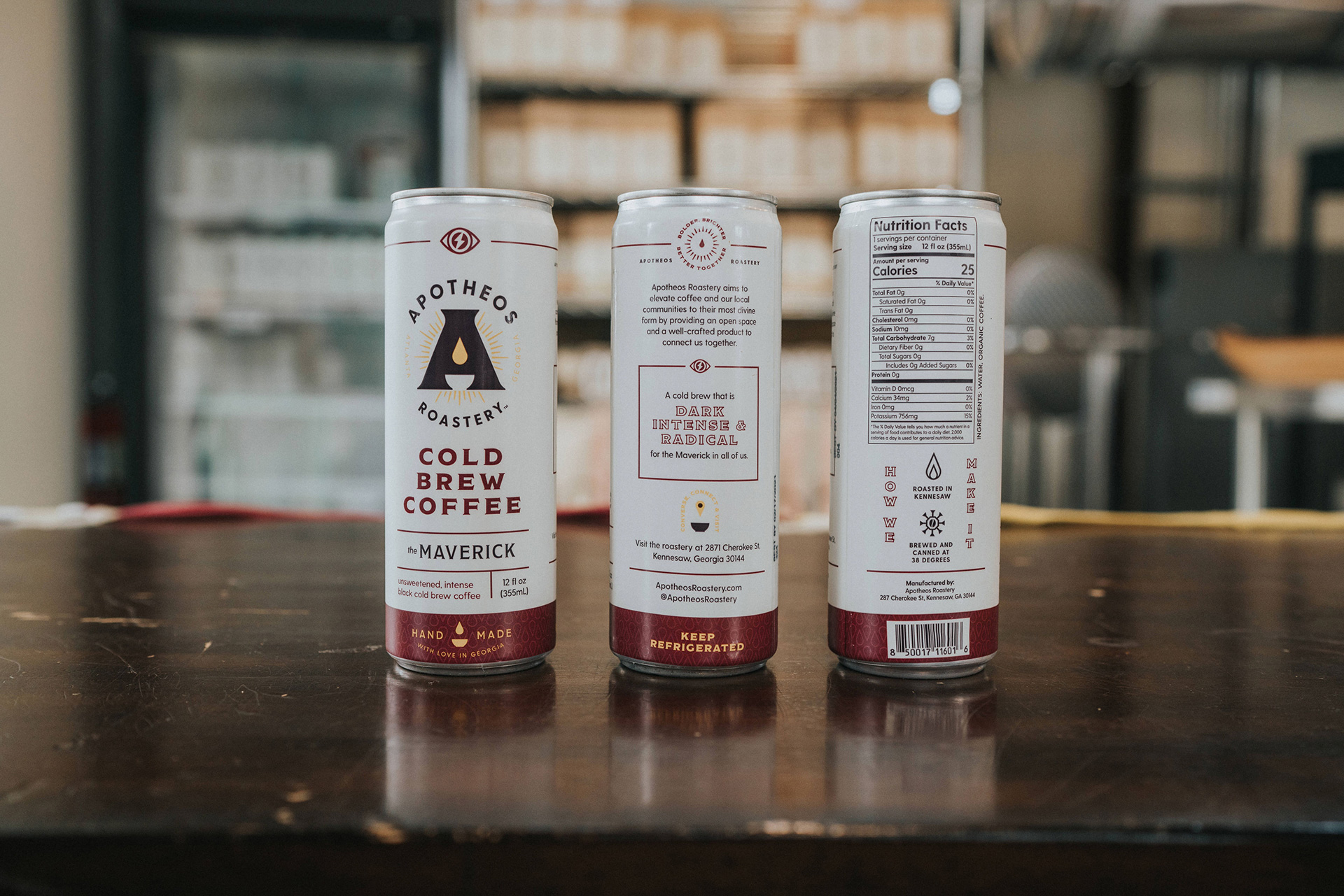 Cold brew coffee packaging design for Apotheos