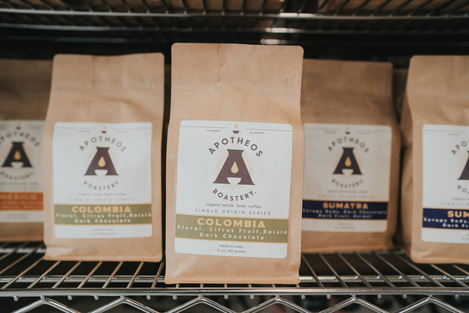 Apotheos Coffee Roastery branding whole bean coffee packaging design