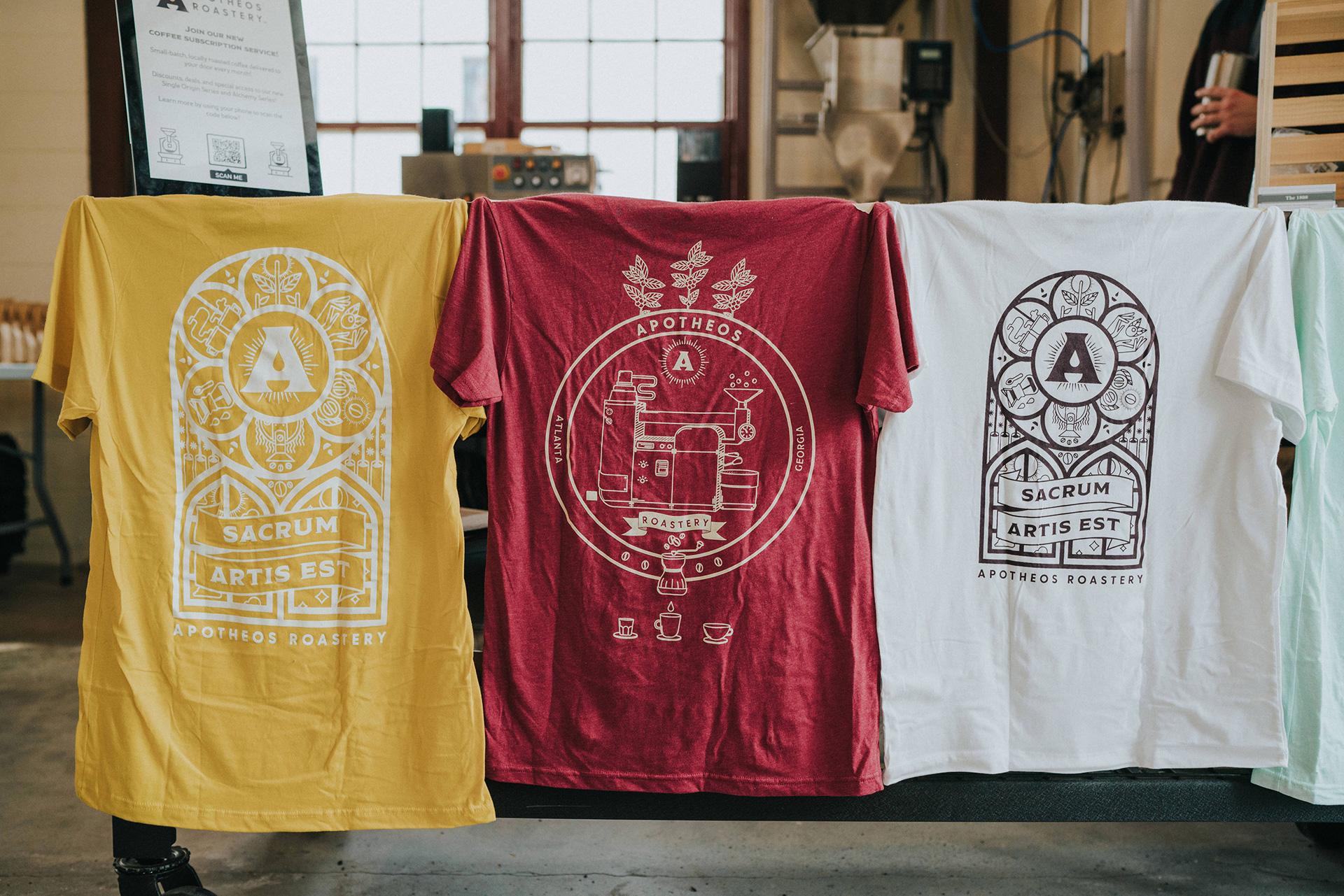 Apotheos Coffee Roastery branding apparel merchandise design
