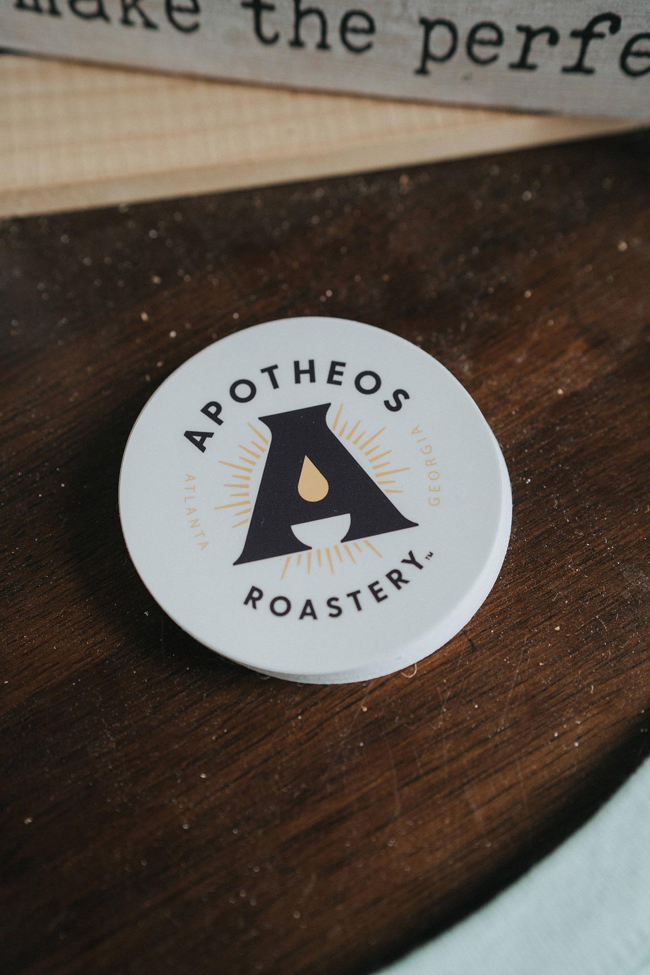 Apotheos Coffee Roastery branding sticker design