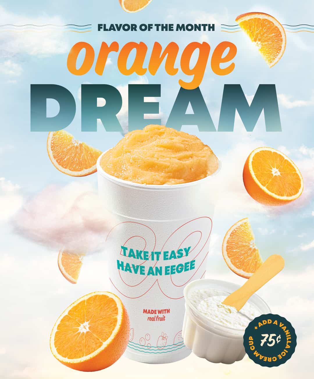 Monthly Restaurant Marketing & Advertising - Orange Dream eegee